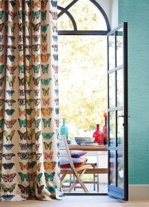 drapes decorated with butterflies